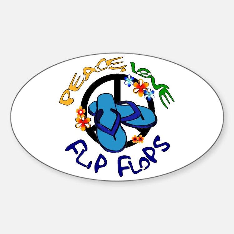 peace, love, flip-flops Oval Stickers
