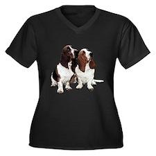 Basset Hounds Women's Plus Size V-Neck Dark T-Shir