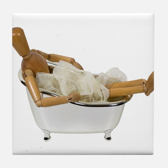 Relaxing in the bathtub Tile Coaster