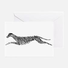 Leaping Scottish Deerhound Greeting Cards (Pk of 1