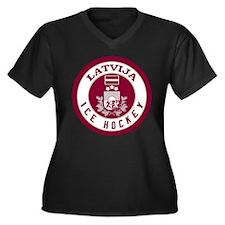 LV Latvia/Latvija Hockey Women's Plus Size V-Neck