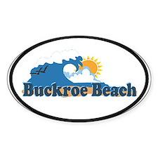 Buckroe Beach VA - Waves Design Oval Decal