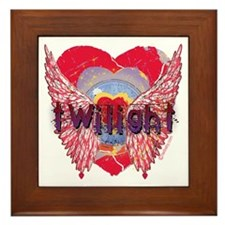 Twilight Mystic Crimson Heart Wings Framed Tile