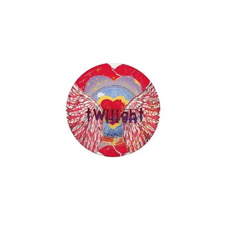 Twilight Mystic Crimson Heart Wings Mini Button (1