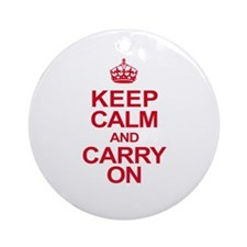 Keep Calm & Carry On in Red Ornament (Round)