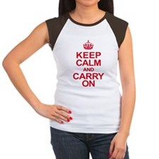 Keep Calm & Carry On in Red Women's Cap Sleeve T-S