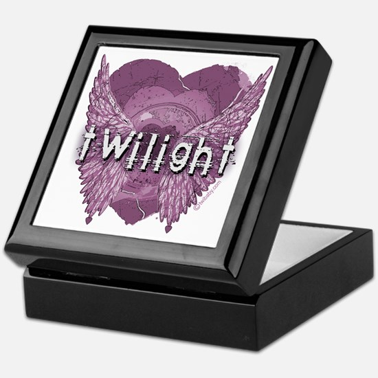 Twilight Violet Shadows Winged Crest Keepsake Box