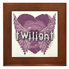 Twilight Violet Shadows Winged Crest Framed Tile