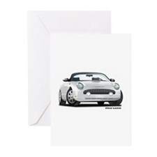 2002 05 Ford Thunderbird White Greeting Cards (Pk