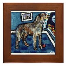 Deerhound whimsical art Framed Tile