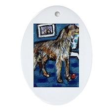 Deerhound whimsical art Oval Ornament