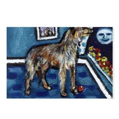 Deerhound whimsical art Postcards (Package of 8)
