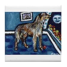 Deerhound whimsical art Tile Coaster