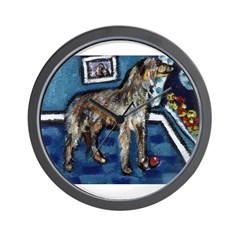 Deerhound whimsical art Wall Clock