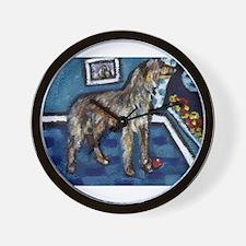 Deerhound whimsical art Wall Clock