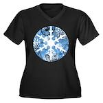 snowflake Women's Plus Size V-Neck Dark T-Shirt