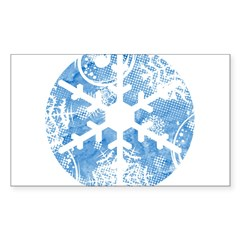 snowflake Rectangle Sticker 10 pk)