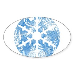 snowflake Oval Sticker (50 pk)