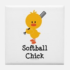 Softball Chick Tile Coaster