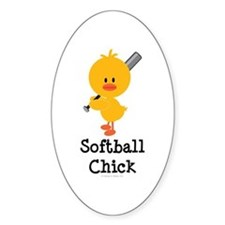 Softball Chick Oval Decal