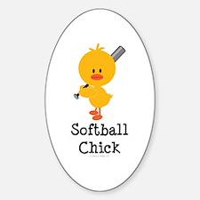 Softball Chick Oval Decal