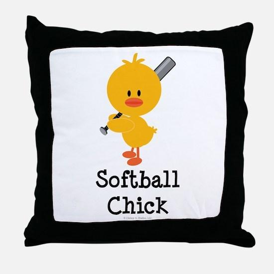 Softball Chick Throw Pillow