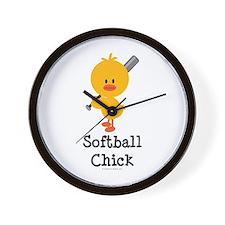 Softball Chick Wall Clock