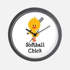 Softball Chick Wall Clock