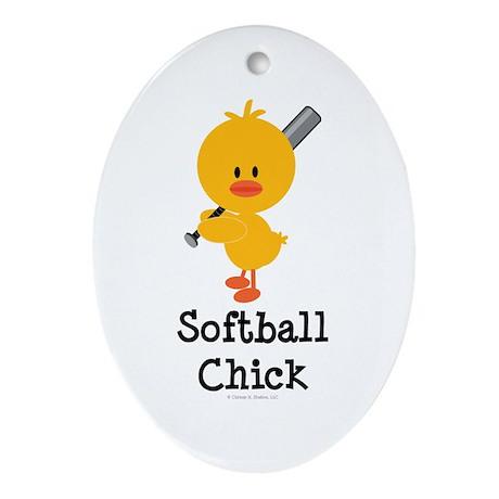 Softball Chick Oval Ornament