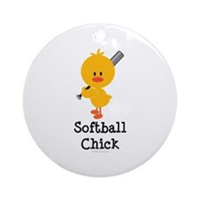 Softball Chick Ornament (Round)