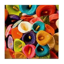 Colorful papier mache flowers Tile Coaster