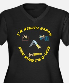 Agility Happy Women's Plus Size V-Neck Dark T-Shir