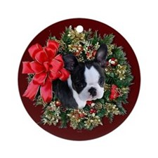 Boston Terrier Puppy Ornament (Round)