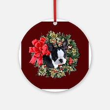 Boston Terrier Puppy Ornament (Round)