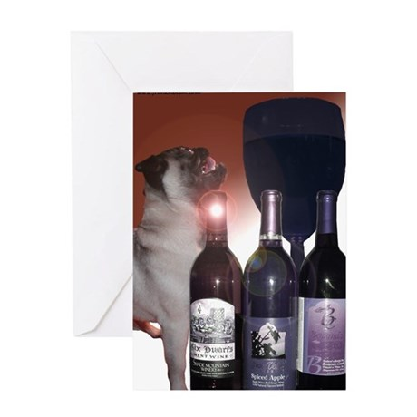 Wine Tasting Pug Greeting Card