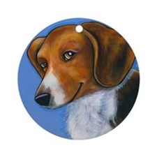 "Beagle ""Holly"" Ornament (Round)"