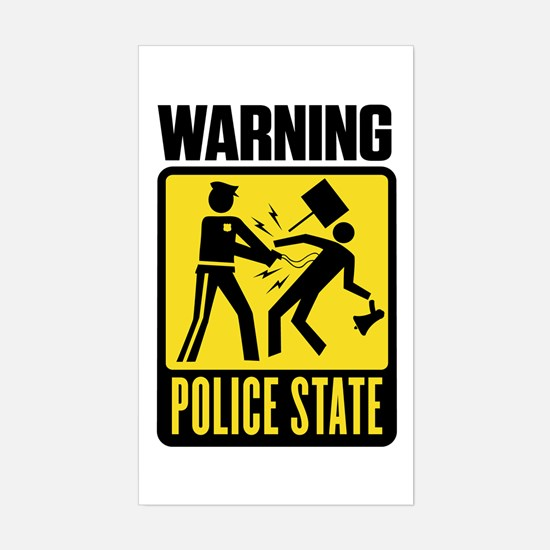 Warning: Police State Rectangle Decal