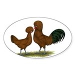 Polish Red Chickens Oval Sticker (10 pk)