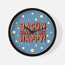 Bacon Makes Me Happy Wall Clock