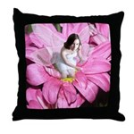 Pink Flower Fairy Throw Pillow