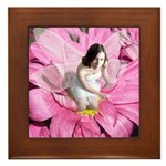 Pink Flower Fairy Framed Tile