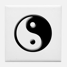 buddhist yin yang buddhism Tile Coaster