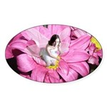 Pink Flower Fairy Oval Sticker