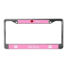 Pink I Love My Akitas License Plate Frame