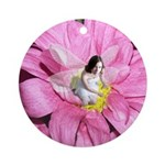 Pink Flower Fairy Ornament (Round)