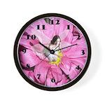 Pink Flower Fairy Wall Clock