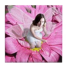 Pink Flower Fairy Tile Coaster