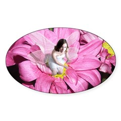 Pink Flower Fairy Oval Decal