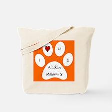 Orange I Love My Alaskan Malamute Tote Bag