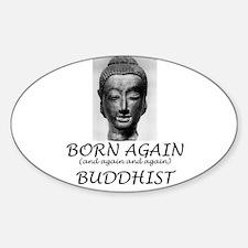 Born Again Buddhist Oval Decal